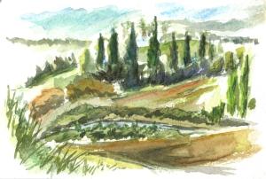 Landscape of Le Bretous close to the Abbaye de Villelongue near Carcassonne, Languedoc-Roussillon, France